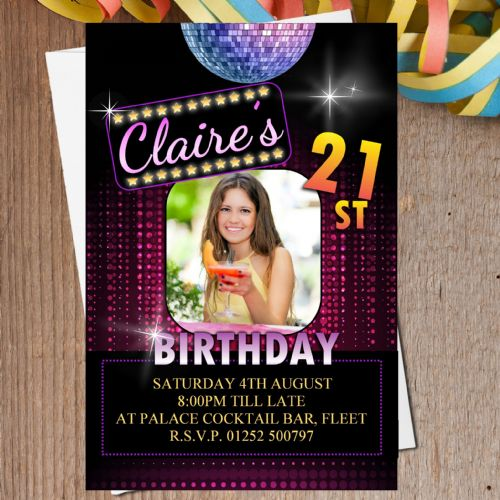 10 Personalised Disco Ball Birthday Party PHOTO Invitations N204